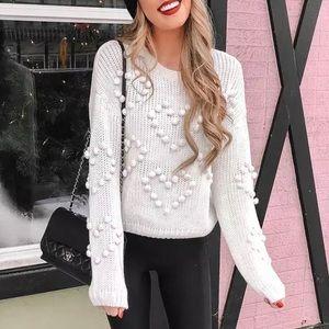 💗SALE! Pom-Poms Lantern Sleeves Sweater